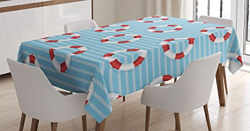 Buoy Decor Tablecloth by Ambesonne, Life Preserver Crisis Security Lifejacket Lifeguard Dangerous Lifestyle Illustrations, Dining Room Kitchen Rectangular Table Cover, 60 X 84 - City Party Lifeguard