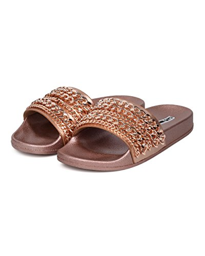 Casual 18 Gold Lounge Rose Sandal Women Chained Fashion Moira Metallic Open Street Cape Robbin Flat Slide Toe Uq48FF