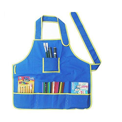 Foxnovo Children Kids Waterproof Art Craft Apron Smock for DIY Painting Drawing (Blue)