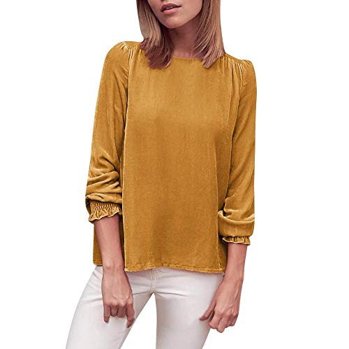 LEXUPA Women's Casual Petal Long Sleeve Solid Blouse Suede Shirt Tops Thin long sleeve t-shirt(Yellow,X-Large)