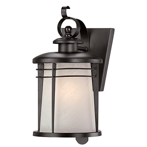 Westinghouse Lighting 6674100 Senecaville One-Light Exterior Wall Lantern, Weathered Bronze Finish on Steel with White Alabaster Glass