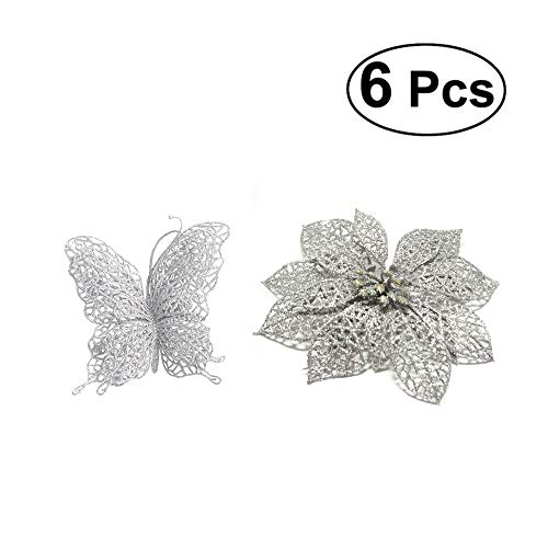 TiTa-Dong Poinsettia Flowers and Butterfly Christmas Ornaments - Pack of 12 Glitter Artificial Hollow Flowers Wedding Party Holiday Xmas Tree Decoration - Silver,6 Flowers and 6 Butterflies