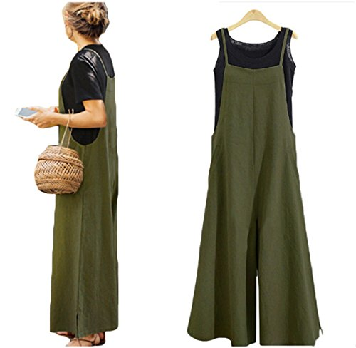 Women's Loose Linen Suspender Trousers Wide Leg Overalls Jumpsuit Romper Harem Pants Plus Size (US XL/TAG 2XL, Green) - Jumpsuit Coverall