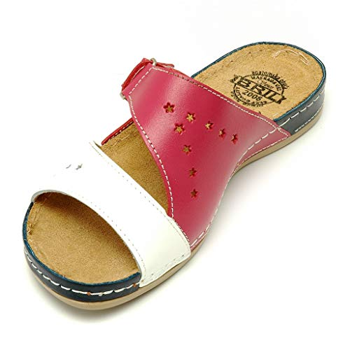 Donna Y71 Zoccoli Punto Pelle Bril Scarpe Bianco rosa Dr Sabot Rosso Pantofole blu Sandali UqvxT6
