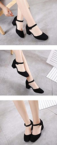 SHEO sandalias de tacón alto Hebilla de mujer redonda con boca baja con un solo zapato Negro