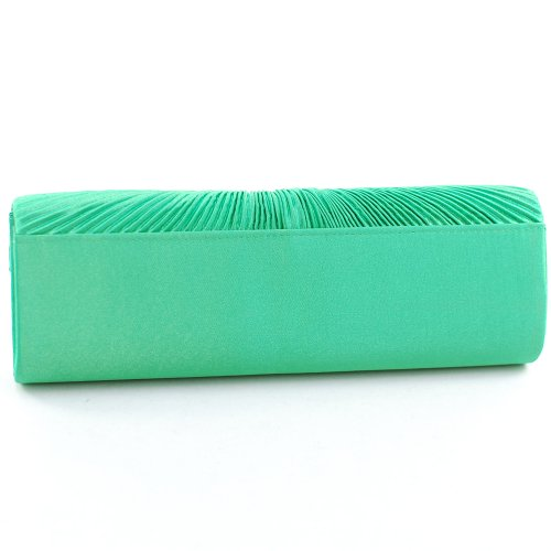 Clutch Green Flap Women's Rhinestone Pleated Bag Purse Brooch w Dasein Evening Floral PqU4txw7