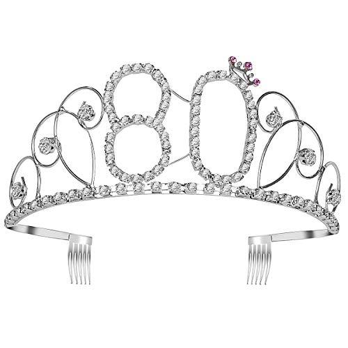 Frcolor Birthday Crowns Rhinestone Birthday Tiara Happy 80th Birthday for Mother or Grandmother]()