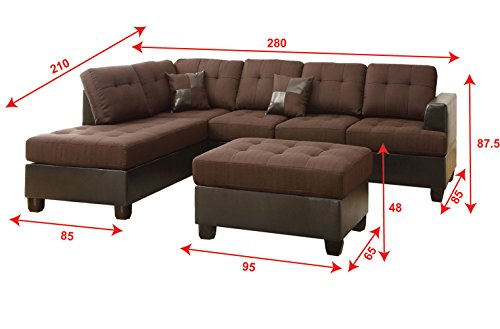 Poundex Bobkona Winden Blended Linen 3-Piece Reversible Sectional Sofa with Ottoman, Chocolate