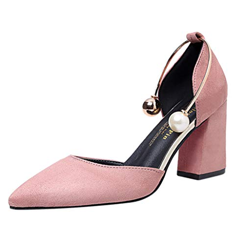 Cenglings Women Sexy Pointed Toe High Chunky Heel Pumps Summer Causal Shallow Single Shoes Ankle Strap Pearl Sandals Pink