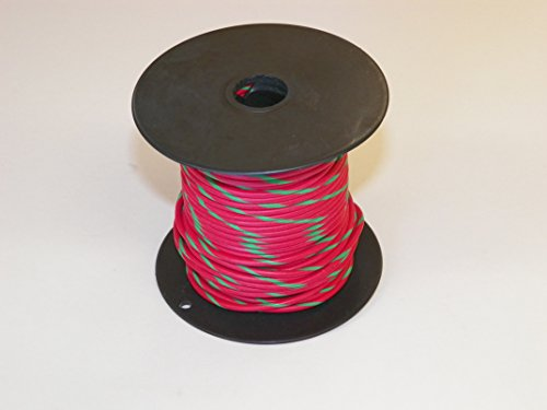RED/GREEN Striped, 18 GA AWG GXL Wire, 100
