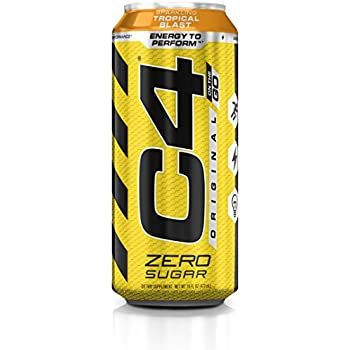Cellucor C4 Original Carbonated Zero Sugar Energy Drink, Pre Workout Drink + Beta Alanine, Sparkling Tropical Blast, 16 Ounce Can