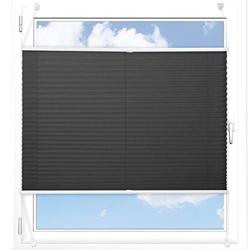 Plissee Rollo / Jalousie | Sichtschutz ohne Bohren | Faltstore in moderner Crushed Optik | Schwarz | Größe wählbar (100 cm Länge x 65 cm Breite)