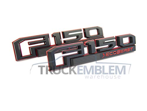 Truck Emblem Warehouse 2 New Custom Black & RED 2015-2017 F150 ECOBEAST Fender Emblems Pair Set