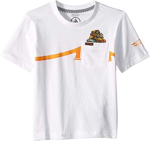 (Volcom Kids Baby Boy's Hot Wheels¿ Pile Up Short Sleeve Pocket Tee (Toddler/Little Kids) White X-Large)