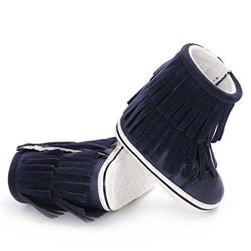 Lukis Baby Schneestiefel Mädchen Jungen Winterstiefel Krippeschuhe Wasserdichte Schuhe mit Fransen Blau