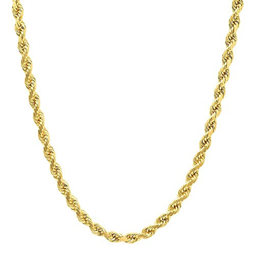 NYC Sterling Unisex Gold Plated Sterling Silver 3MM Diamond-Cut Rope Chain Necklace (20