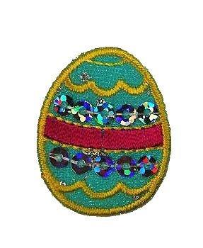 Osterei 2,6 cm * 3,3 cm Bügelbild - Aufnäher Applikation Ostern Ostereier buntes turkis blau gelb