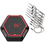 Inkbird 150ft Grill Thermometer IBT-6XS with Magnet, 1000mAh Li-Battery and USB Charging Cable, Timer and Alarm 6 Probes Barbecue Thermometers for Digital Cooking, Smoker, Drum, Oven(Red)