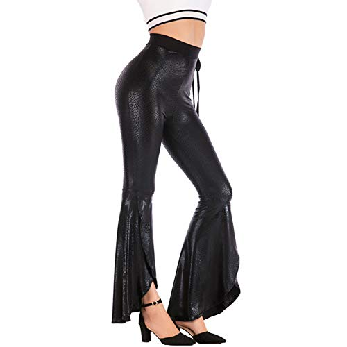 (Women High Waisted Bell Bottoms Snakeskin Pattern PU Fit Flare Pants)