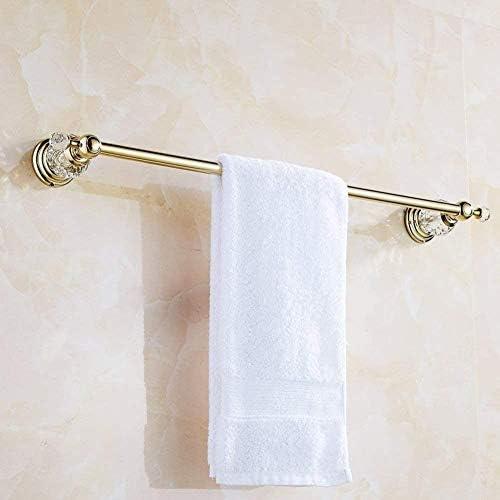 バスルームアクセサリー、真鍮、クリスタル、4点セット、磨か金、壁掛け、タオルラック、タオルリング、フック、ウォールマウント