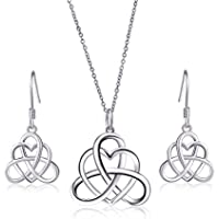 925 Sterling Silver Good Luck Vintage Irish Celtic Triquetra Knot Heart Pendant Necklace and Earrings Jewelry Set