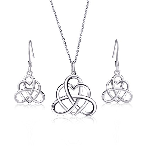 - 925 Sterling Silver Good Luck Vintage Irish Celtic Triquetra Knot Heart Pendant Necklace and Earrings Jewelry Set