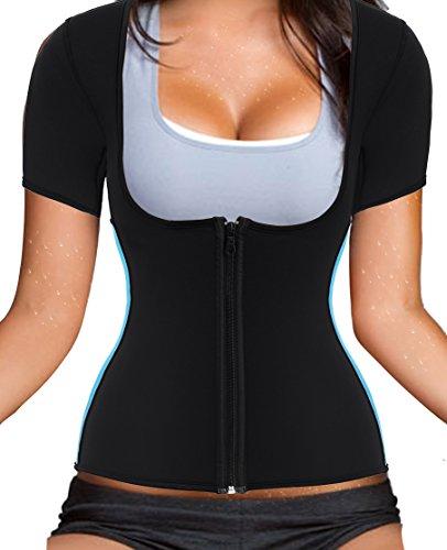 Women Sauna Suit Waist Trainer Neoprene Shirt for Sport Workout Weight Loss Corset Hot Body Shaper Top (XL, Black Sauna Sweat Shirt)