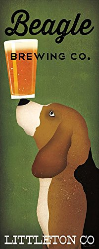 - Beagle Brewing Co Littleton Co by Ryan Fowler 20x8 Beagles Wine Signs Dogs Hounds Animals Art Print Poster Vintage Advertising Sign Beer Vintage