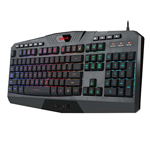 Redragon K503 RGB Backlit Gaming Keyboard PRO Version with Marco Keys 114 Key Silent USB Keyboard with Wrist Rest for Windows PC Games (Black)