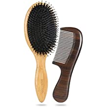 BESTOOL Boar Bristle Hair Brush Set for Men Women-Hair Comb & Brush Cleaner Included, Best for Detangling, Polishing and Massaging, Vented With Blow Dryer | for All Hair Types