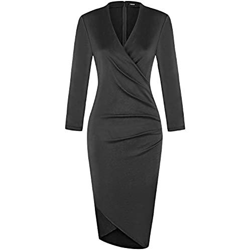 OUGES Womens 3/4 Sleeves Ruched Sheath Faux Wrap Dress,Black,XX-Large