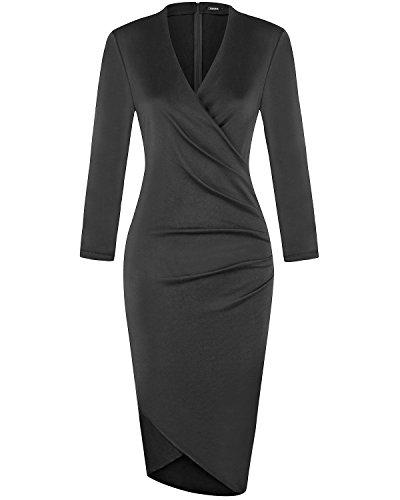 Buy black 3 4 sleeve formal dress - 4