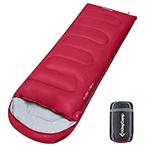 KingCamp Sleeping Bag Envelope Single XL Oversize 4 Season Warm Lightweight Portable Comfort with Compression Sack for Backpacking Camping Hiking 26F/-3C