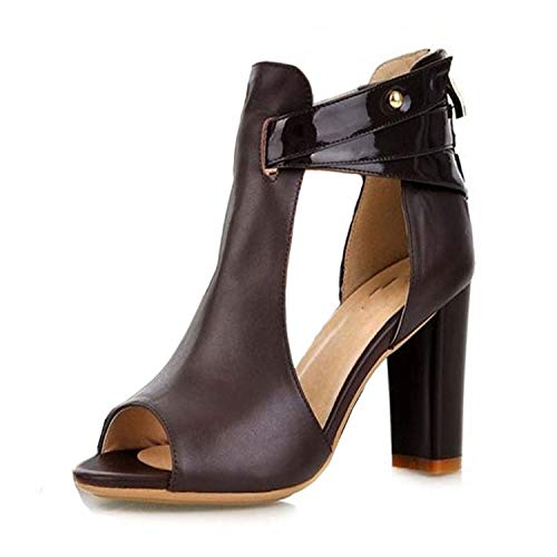 - Ladies Fashion Heels Platform Sandals Shoes Women's Natural Real Leather High Heel Sandals Shoes Size 32-43,Bruin,8