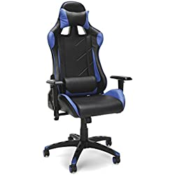 Essentials Racing Style Leather Gaming Chair - Ergonomic Swivel Computer, Office or Gaming Chair, Red (ESS-6066-BLU)