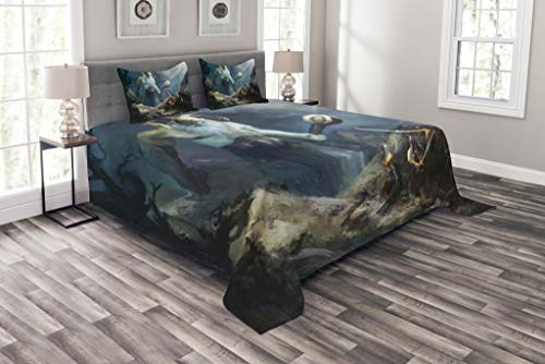 Lunarable Viking Bedspread, Heroes of Valhalla with Mythological Frost Giant Norse Culture Watercolor Design, Decorative Quilted 3 Piece Coverlet Set with 2 Pillow Shams, King Size, ()