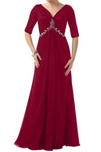 Chiffon Damen Halb Ivydressing Weinrot Steine Abendkleid Ausschnitt V Aermel Lang Festkleid Brautbegleiterinkleid IfqIwTYdSx