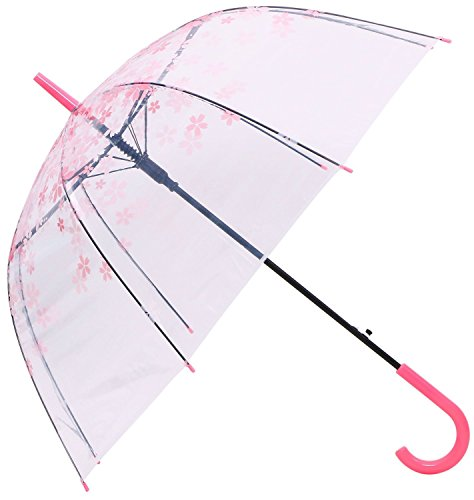Romantic Pink Cherry Clear Transparent Half-Automatic Cartoon Floral Blossom Bubble Dome Shape Rain Wind Umbrella (Pink)