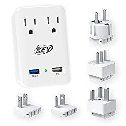 Key Power 2000W International Travel Adapter Kit – Features Quick Charge 3.0 USB & 2-Outlets Compatible for USA, Ireland, Europe, Russia, France, UK, Australia, Italy and more