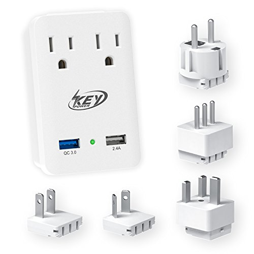 Key Power 2000W International Travel Adapter Kit – Features Quick Charge 3.0 USB & 2-Outlets Compatible for USA, Ireland, Europe, Russia, France, UK, Australia, Italy and more by Key Power