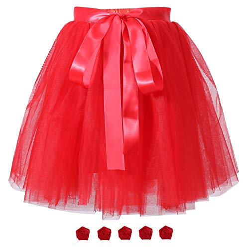 Women's Solid A Line High Waist Princess Tulle Skirt Grils's Tutu Skirt Dance Tutu Flowers for DIY Red