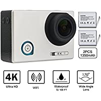 Beownwear Sport Action Camera 4K WIFI Ultra HD Waterproof 2.0 Inch Screen Cam 12MP 170 Degree Wide Angle with 2 PCS 1350mAh Batteries and 18 Accessories Kits