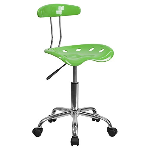 Vibrant Spicy Lime and Chrome Task Chair with Tractor Seat