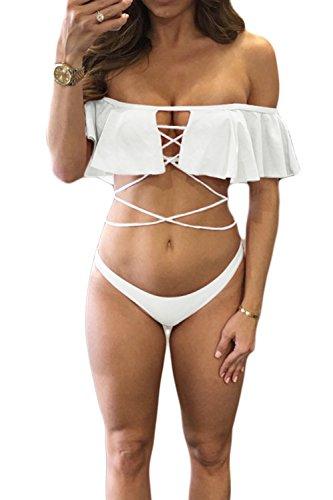 Women 's Off Shoulder Low Rise Bikini Traje De Baño Traje De Baño De 2 Piezas Vendaje White