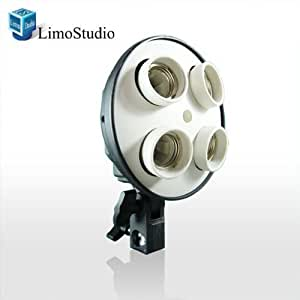 LimoStudio 4 Socket Photo Bulb Adapter - Converts 1 Socket into 4 - Use for Standard Socket Flourescent Bulbs, AGG882-A