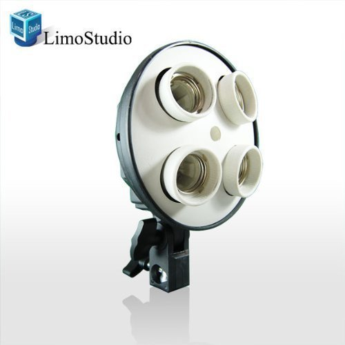 LimoStudio 4 Socket Photo Bulb Adapter - Converts 1 Socket into 4 - Use for Standard Socket Flourescent Bulbs, AGG882-A - 23w Cfl