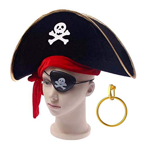 TRIXES 3PC Pirate accessory pack for -Fancy dress themed Birthday Stag Parties – One Size - Hat Eyepatch and Gold Clip on Ear ring ()