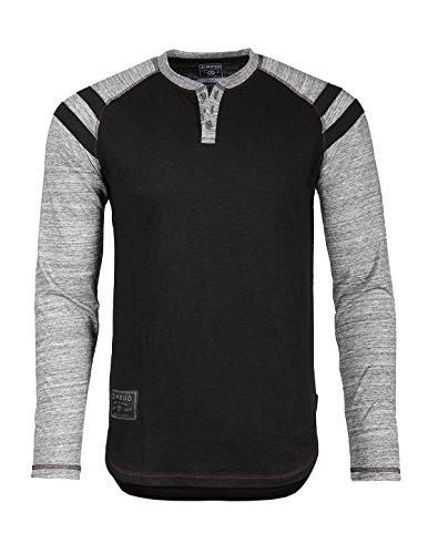 ZIMEGO Mens Long Sleeve Athletic Stripes Arm Contrast Raglan Henley