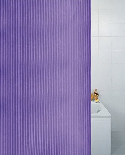 Textile Stripe Plum Purple Heavy Weight Polyester Shower Curtain 180 x 180cm