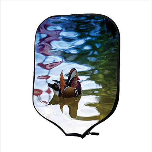 Neoprene Pickleball Paddle Racket Cover Case,Wildlife Decor,Chinese Mandarin Ducks Sail in River East Asian Winged Creature Peace Habitat,Multi,Fit for Most Rackets - Protect Your Paddle